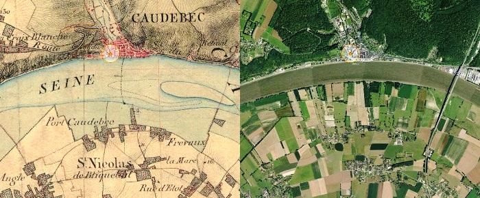 Comparaison de la carte d'état major (1820-1866) avec une vue aérienne actuelle de la Seine à Caudebec-en-Caux (sources : geoportail.gouv.fr)