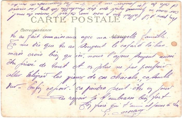 Carte postale envoyée par mon arrière-grand-père à l'un de ses frères