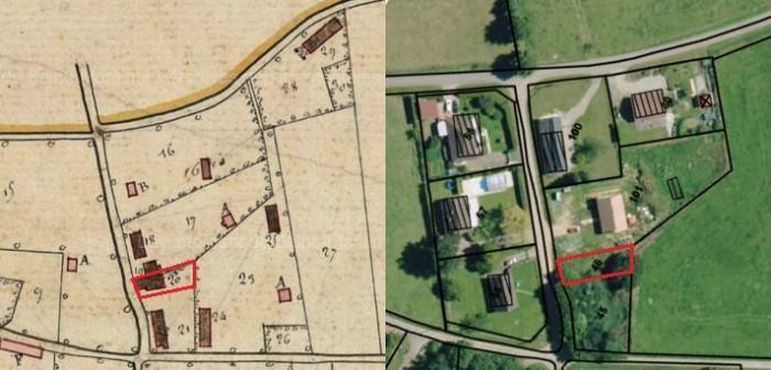 Cadastre napoléonien d'Epinay-sur-Duclair et vue aérienne actuelle (sources : AD 76 - Cote : 3P 3 1170 et geoportail.gouv.fr)