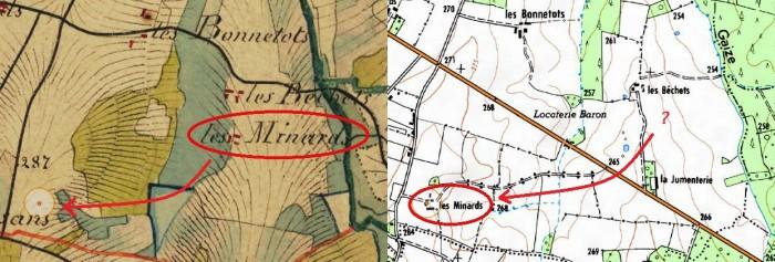 Le domaine des Minards sur la carte d'état-major et sur la carte IGN actuelle (source : geoportail.gouv.fr)