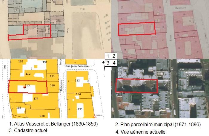 Comparaison des plans parcellaires de Paris entre 1830 et aujourd'hui (sources : AD 75, cadastre.gouv.fr et geoportail.gouv.fr)
