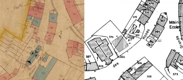 Comparaison des plans cadastraux de Thonne les Prés en 1848 et actuellement (sources : AD 55 - Cote : 139 FI 248 et cadastre.gouv.fr)