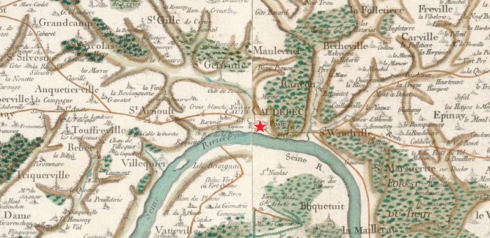 Caudebec-en-Caux sur la carte de Cassini (source : Gallica)