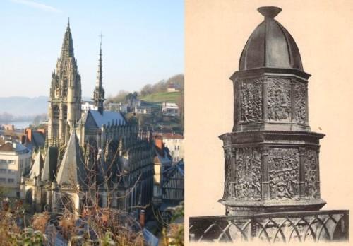 Eglise Notre-Dame de Caudebec et fonts baptismaux en bois sculpté