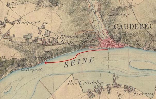 Distance de Caudebec au hameau de la Roquette sur la Seine