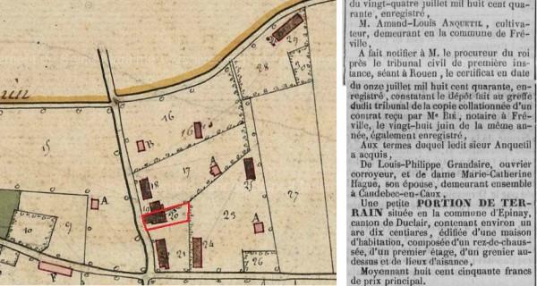 Extrait du cadastre d'Epinay-sur-Duclair et article du Journal de Rouen du 8 août 1840