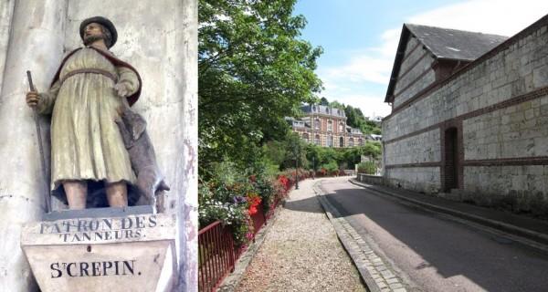 Statue de Saint Crépin et la rue des Tanneurs à Caudebec