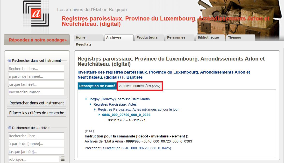 Archives de Belgique numérisées - Registres paroissiaux