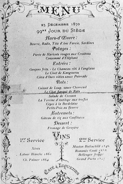 Menu du 25 décembre 1870, au Café Voisin