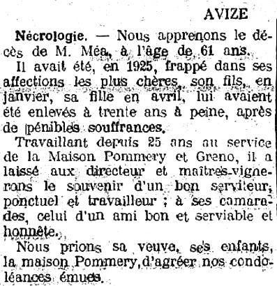Nécrologie d'Edouard Ernest MEA dans le Journal de la Marne - Octobre 1929