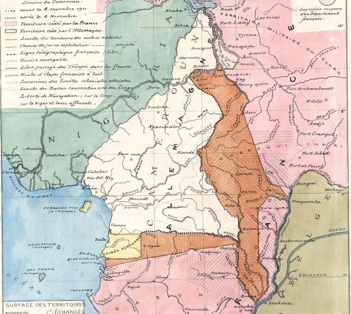 Carte du Cameroun extraite de Afrique équatoriale française, d'après l'accord franco-allemand du 4 novembre 1911 (source : Gallica)