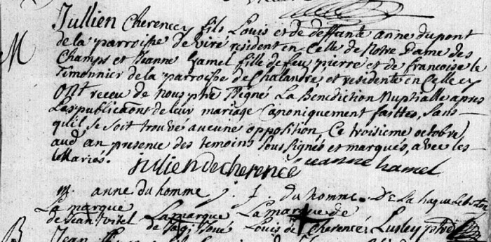 Mariage Saint Senier de Beuvron 1741
