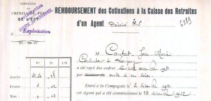 Extrait du document de remboursement des cotisations à la Caisse des Retraites