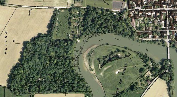 Vue aérienne et parcelles cadastrales de Bisseuil (source : Géoportail, IGN)