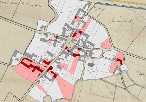Parcelles occupées par mes ancêtres au 19ème siècle à Tauxières (Marne)