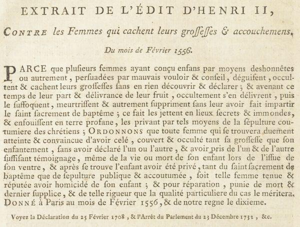 Extrait de l'édit d'Henri II de 1556