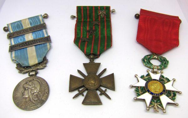 Médaille Coloniale, Croix de Guerre et Légion d'Honneur