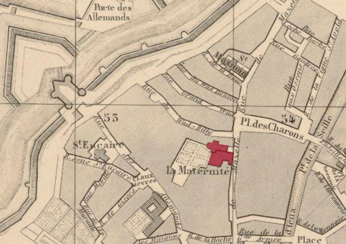 Emplacement de la Maison de Santé et Maternité de Metz, au 36 rue Mazelle