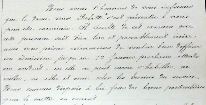Lettre du docteur Morlanne concernant l'admission de Catherine Michelet, veuve Delatte