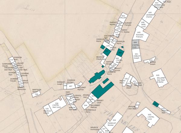 Propriétaires de Thonne les Prés en 1848, à partir des états de section