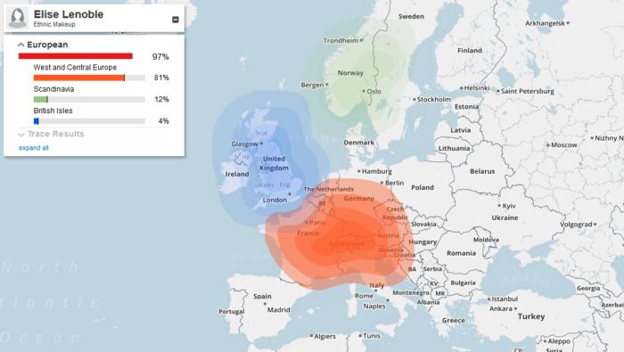 Carte de répartition de mes origines génétiques