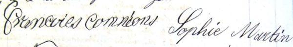 Signatures de Sophie Martin et de sa mère Françoise Commion