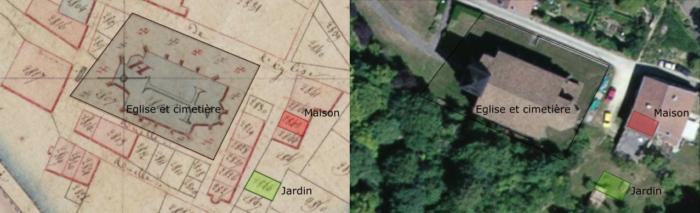 Emplacement de la maison (en rouge) et du jardin (en vert) de la famille Martin à Gironville