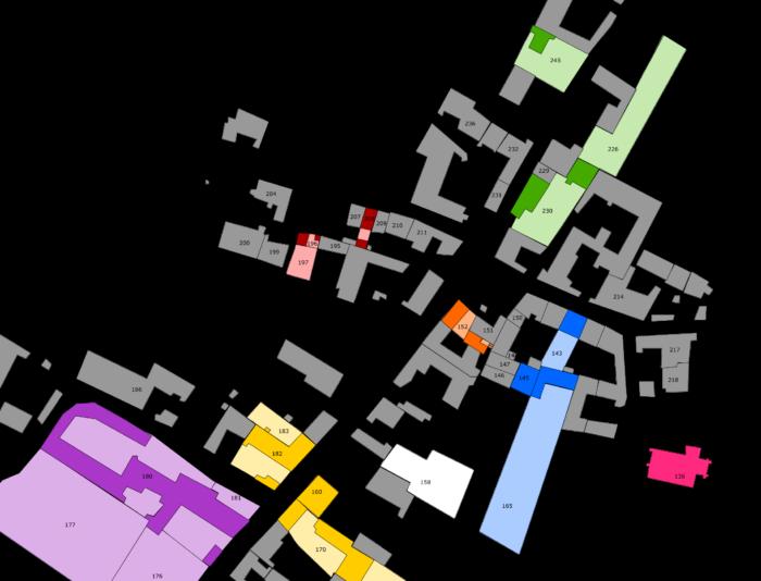 Emplacement des maisons de mes ancêtres sur le plan cadastral de Tauxières