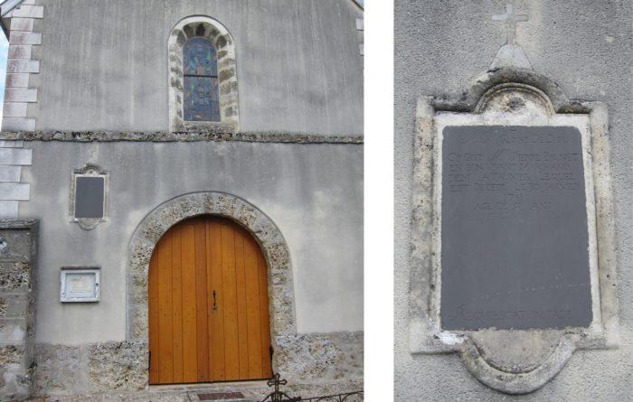 Plaque dans le mur de l'église de Tauxières
