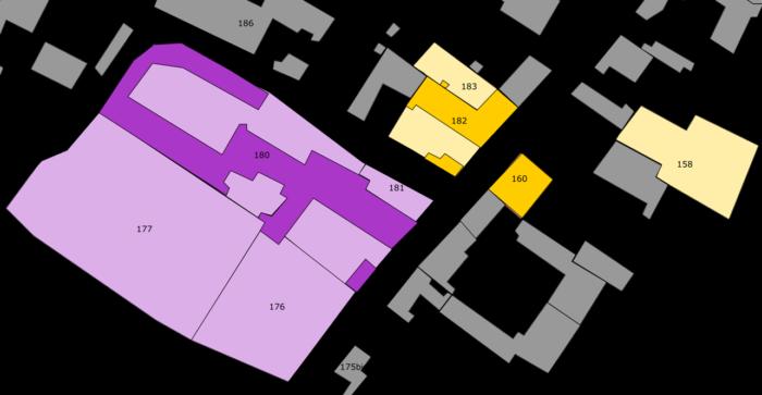 Intersection de la rue du Poncet et de la rue de Mutry (en jaune : les propriétés de la famille Gélot ; en violet : le
