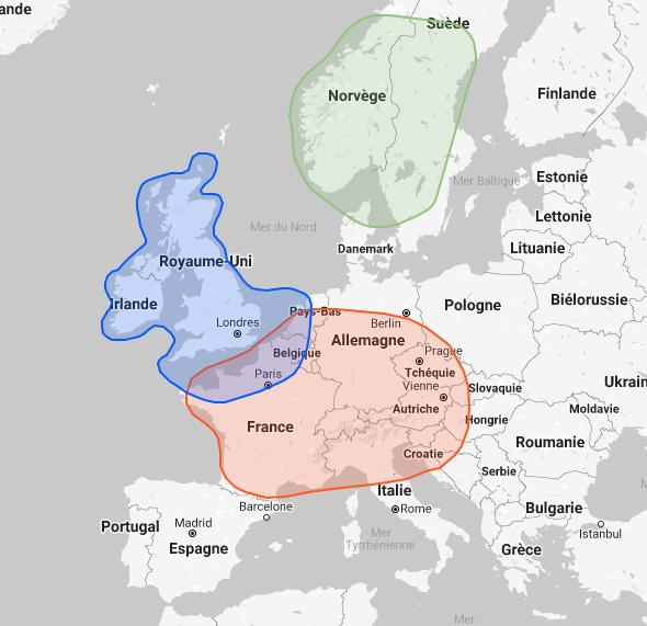 Exemple de carte de répartition géographique donnée par Family Tree DNA