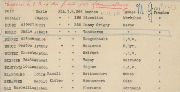 Extrait des listes de prisonniers emmenés au camp de Hammelburg (source : CICR)
