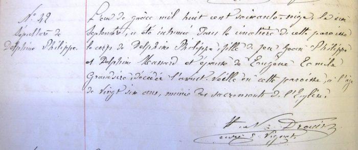 Acte de sépulture de Delphine Philippe (source : AD Meuse)