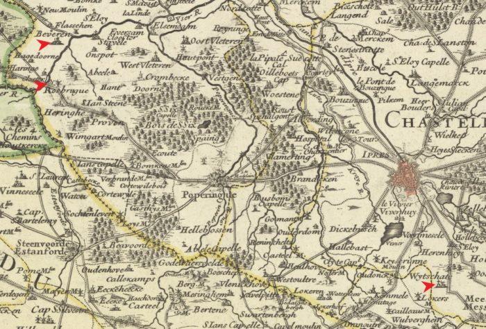Lieux de vie de Jeanne Thérèse Depuydt dans son enfance (source de la carte : Gallica)
