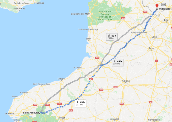 Trajet à pied entre Wijtschate et Saint Arnoult (d'après Google Maps)