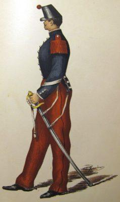 Uniforme d'un sous-officier du train des équipages militaires vers 1860 (source : Service Historique de la Défense)