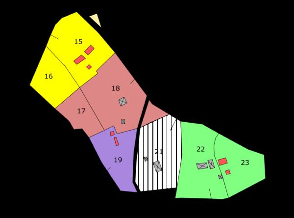 Les propriétaires des différentes parcelles vers 1870