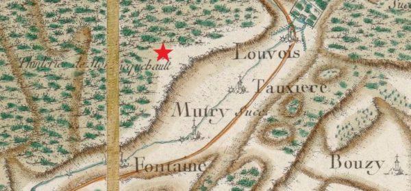 Extrait de la carte de Cassini des environs de Tauxières (source : Gallica/BNF)
