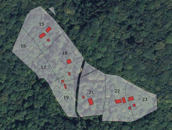 Superposition des parcelles de tuilerie avec une vue aérienne actuelle (source : Géoportail/IGN)