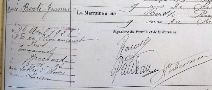 Exemple de mention de mariage en marge d'un acte de baptême