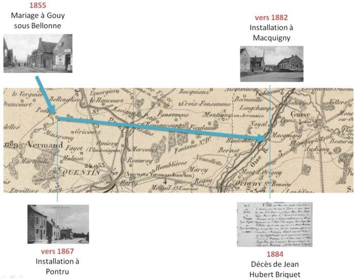 Parcours de la famille Briquet de 1855 à 1884