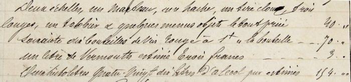 Extrait de l'inventaire des biens de Jean Hubert Briquet