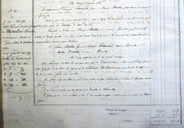 Déclaration de succession de mon ancêtre Benoit Martin