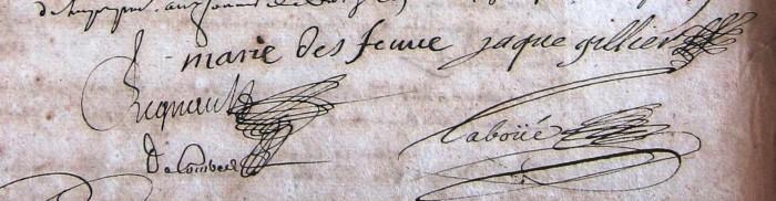 Signature de Jacques Gillier (en bas de l'inventaire après décès de son frère)