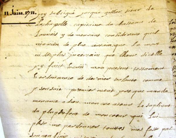 Testament de Jacques Gillier (rédigé en 1711)