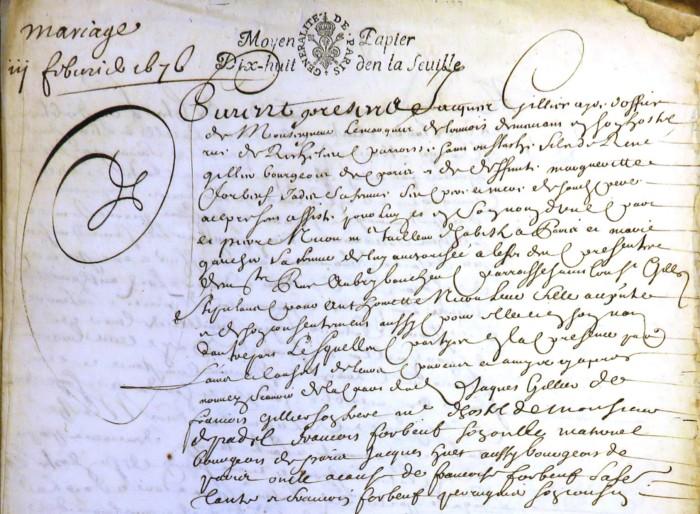 Contrat de mariage entre Jacques Gillier et Antoinette Nicou (Paris)