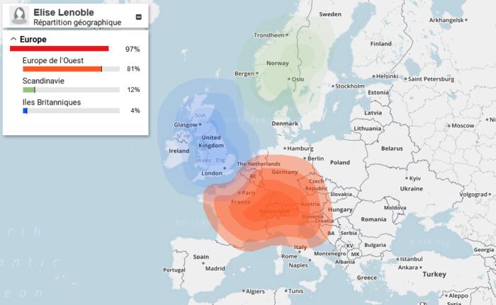 Carte de répartition géographique de mon test ADN (Carte d'ethnicité)
