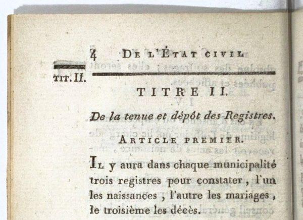 Code du divorce et de l'état civil - Décret du 20 septembre 1792