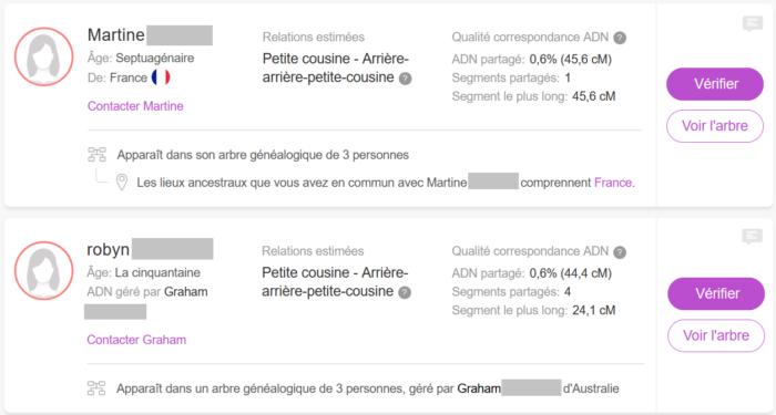Liste de Correspondances ADN (Cousins par l'ADN) sur le site de My Heritage